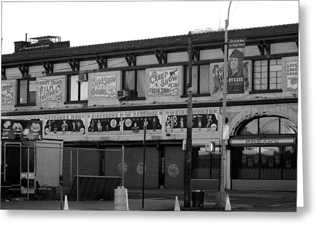 Coney Island Art In Black And White Greeting Card by Rob Hans