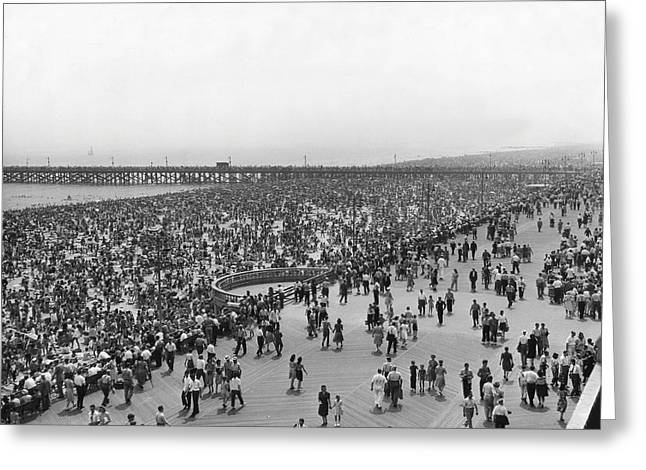 Coney Island Boardwalk And Beach Crowd Greeting Card by MMG Archives