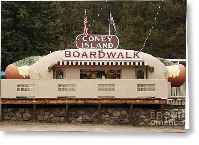 Coney Island Boardwalk Greeting Card by Juli Scalzi