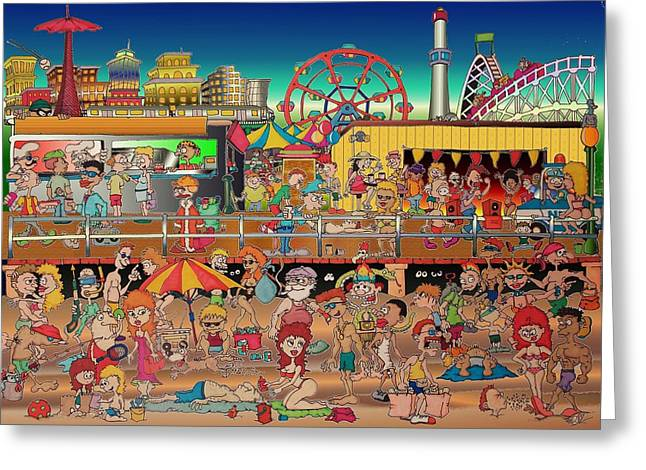 Coney Island Boardwalk Greeting Card by Paul Calabrese