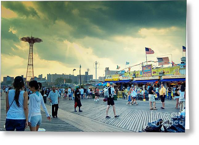 Coney Island Brooklyn New York City Greeting Card by Sabine Jacobs