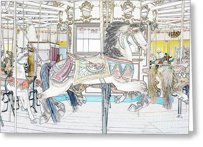 Coney Island Carousel Greeting Card