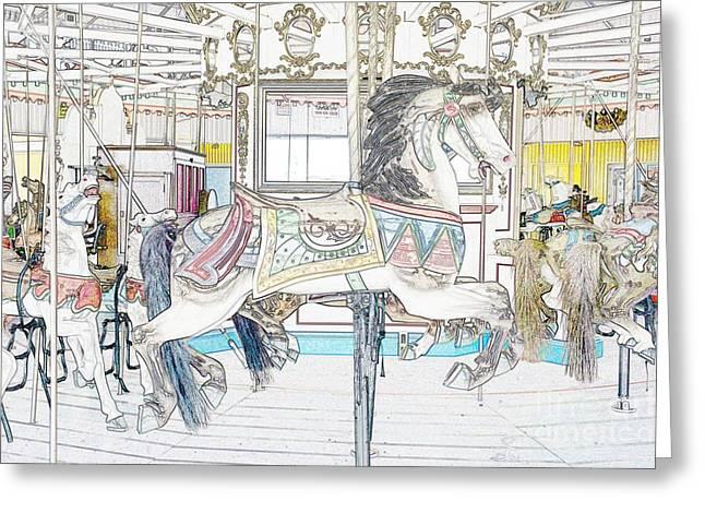 Coney Island Carousel Greeting Card by Lilliana Mendez