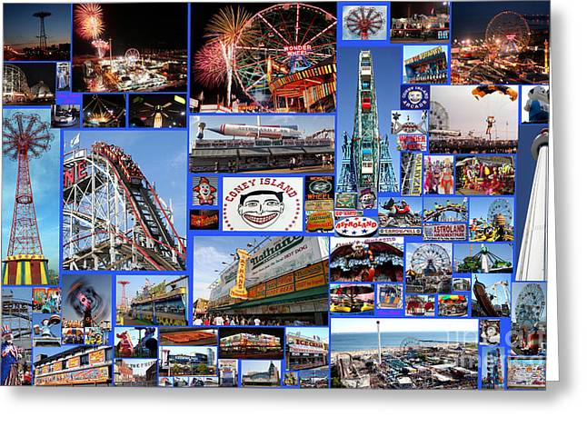 Greeting Card featuring the photograph Coney Island Collage by Steven Spak