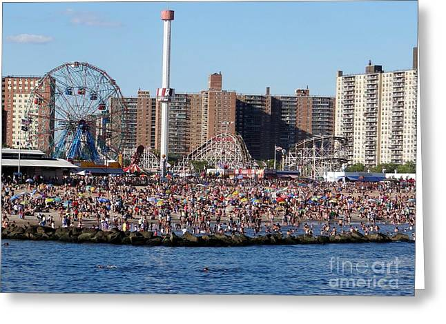 Greeting Card featuring the photograph Coney Island by Ed Weidman