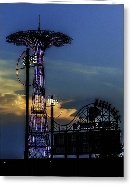 Coney Island Parachute Jump Greeting Card by Jon Woodhams
