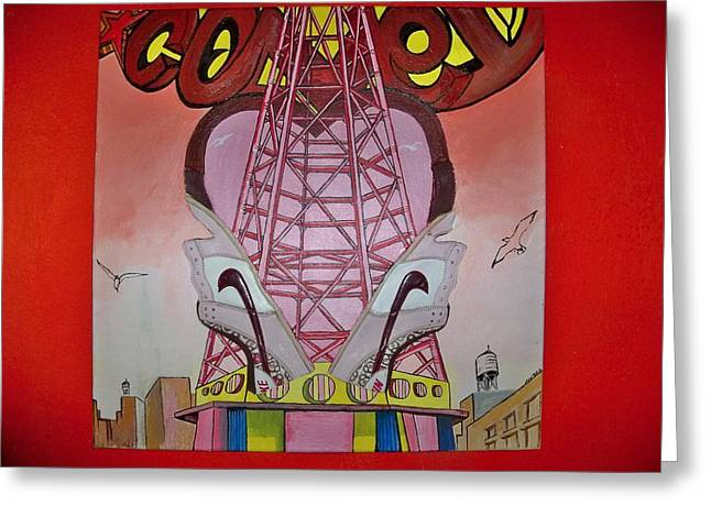 Coney Island Smiling Greeting Card by Nelson Vargas