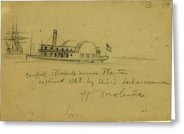 Confed. Blockade Runner Planter Captured 1863 By U Greeting Card by Quint Lox