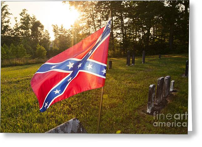 Confederate Flag In An Old Cemetery Greeting Card by Jonathan Welch
