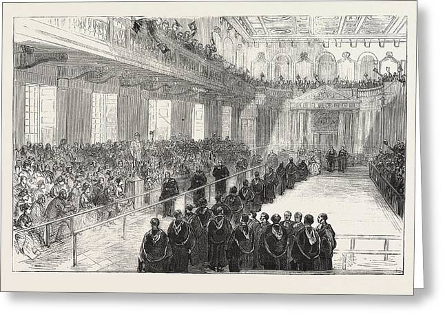 Conferring Degrees In The Senate House, Cambridge Greeting Card by English School