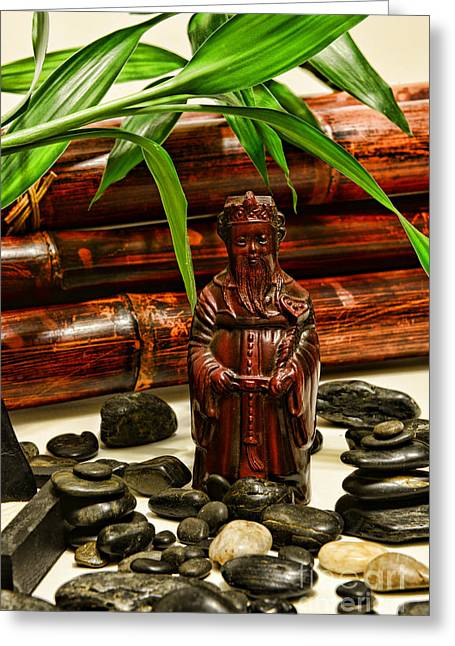 Confucius In The Garden Greeting Card by Paul Ward
