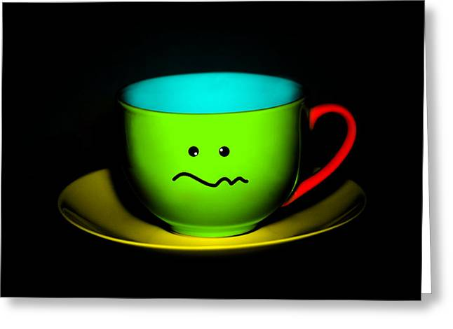 Confused Colorful Cup And Saucer Greeting Card by Natalie Kinnear
