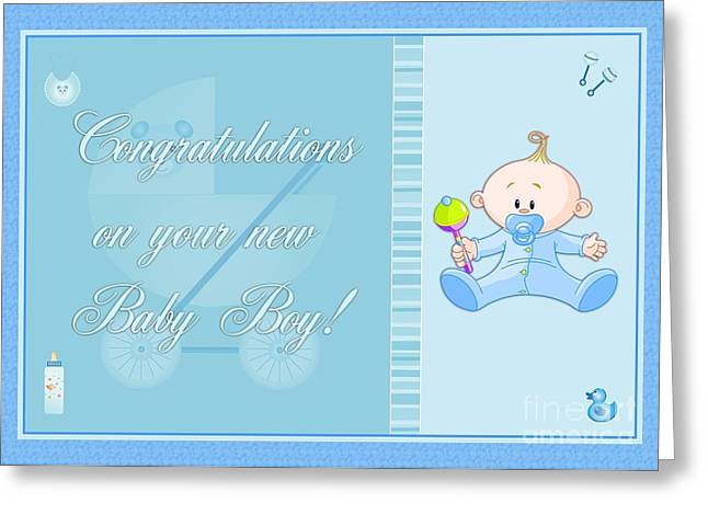 Greeting Card featuring the digital art Congrats Baby Boy Blue by JH Designs