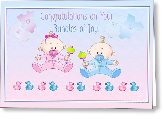 Greeting Card featuring the digital art Congrats Bundles Of Joy by JH Designs