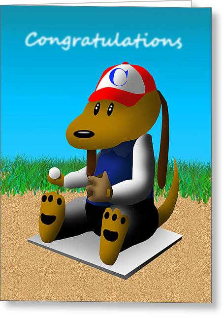 Congratulations Baseball Dog  Greeting Card by Jeanette K