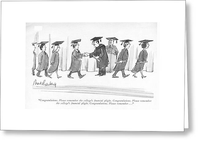Congratulations. Please Remember The College's Greeting Card by Mort Gerberg