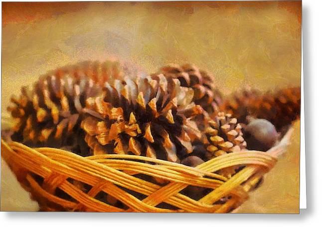 Conifer Cone Basket Greeting Card