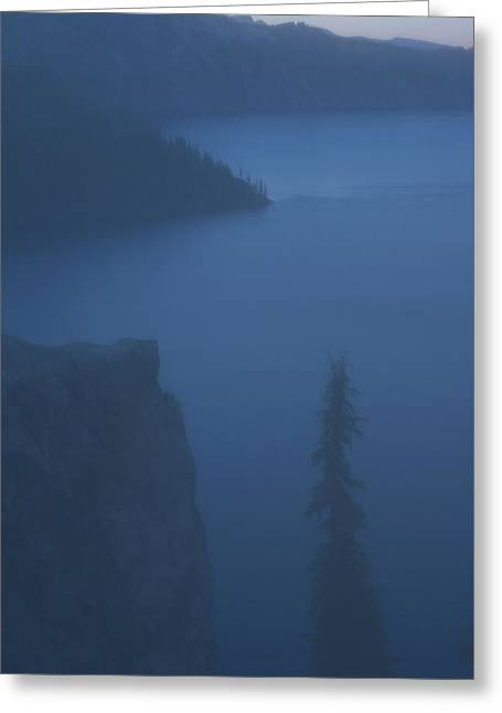 Coniferous Tree And Crater Lake Greeting Card