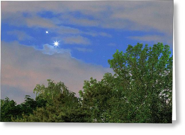 Conjunction Of Venus And Jupiter Greeting Card by Babak Tafreshi
