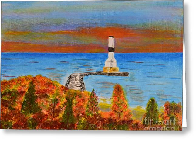 Fall, Conneaut Ohio Light House Greeting Card by Melvin Turner