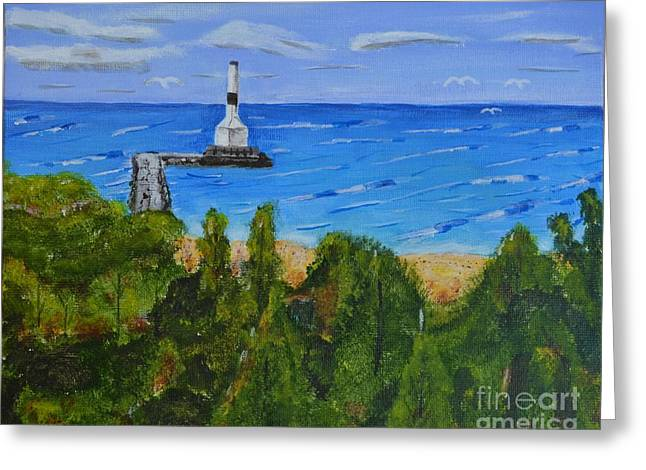 Summer, Conneaut Ohio Lighthouse Greeting Card by Melvin Turner