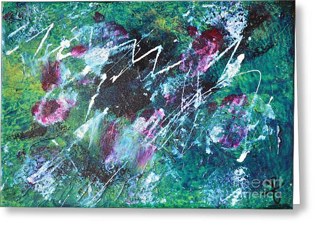Connected Blue Green Abstract By Chakramoon Greeting Card by Belinda Capol