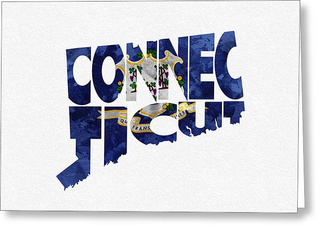 Connecticut Typographic Map Flag Greeting Card by Ayse Deniz