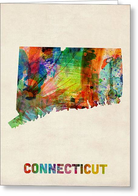 Connecticut Watercolor Map Greeting Card