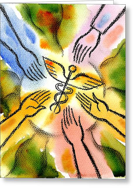 Connecting To Health Greeting Card by Leon Zernitsky