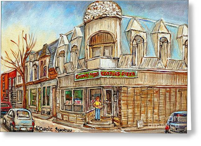 Connie's Pizza Montreal Paintings Autumn Scene Pointe St Charles Original Cityscapes Carole Spandau  Greeting Card
