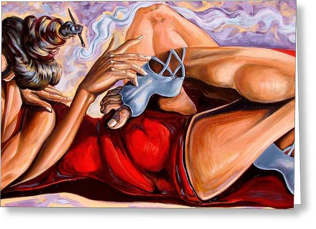 Consciousness Resting From Life Contortion-ism Greeting Card by Darwin Leon