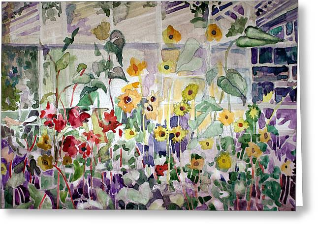 Conservatory Sunflowers Greeting Card by Mindy Newman