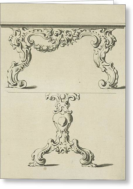 Console Table And Table Leg In Auricular Style Greeting Card by Pieter Hendricksz. Schut And Gerbrand Van Den Eeckhout And Nicolaes Visscher I
