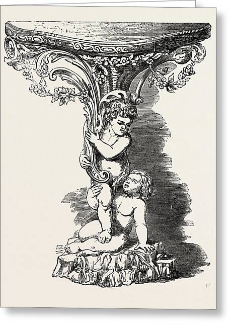 Console Table Greeting Card by Clarke, English, 19th Century