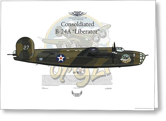 Consolidated B-24a Liberator Ol 927 Greeting Card by Arthur Eggers