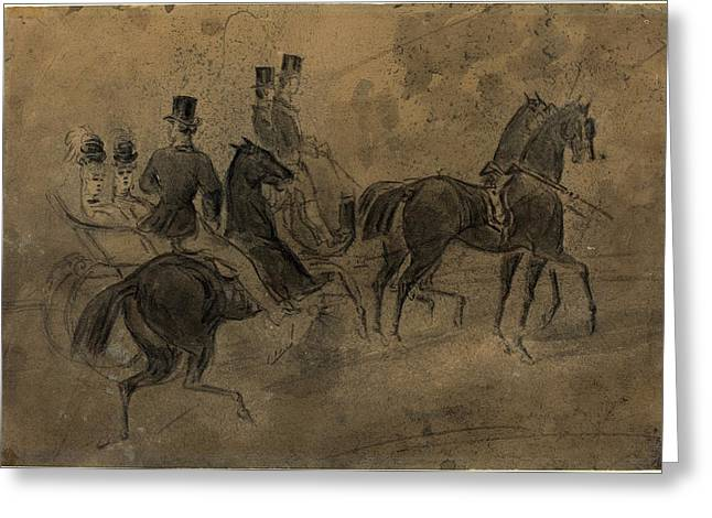 Constantin Guys, French 1805-1892, An Open Carriage Greeting Card by Litz Collection