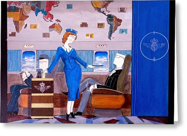 Constellation Businessman Served Martini By Sexy Stewardess Greeting Card by John Lyes