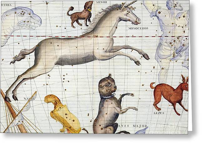 Constellation Of Monoceros With Canis Major And Minor Greeting Card by Sir James Thornhill
