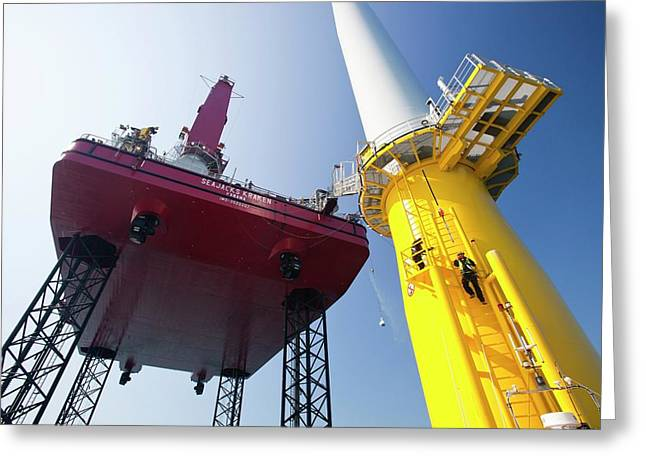 Constructing Walney Offshore Wind Farm Greeting Card by Ashley Cooper