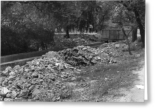 Construction Debris On Both Sides Of A Drain In The Delhi Zoo Greeting Card by Ashish Agarwal