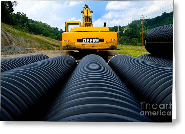 Construction Excavator Greeting Card by Amy Cicconi