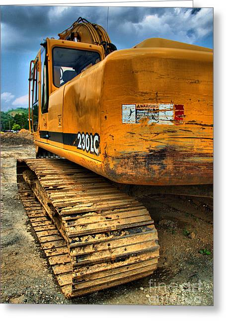 Construction Excavator In Hdr 1 Greeting Card by Amy Cicconi