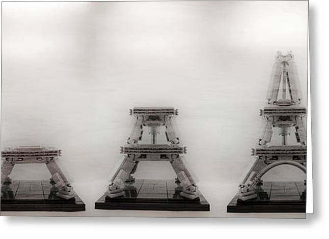 Construction Of Lego Eiffel Tower Greeting Card by Natasha Bishop