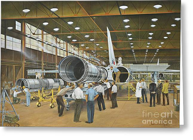 Construction Of The Dh.98 Mosquito Greeting Card by TriFocal Communications