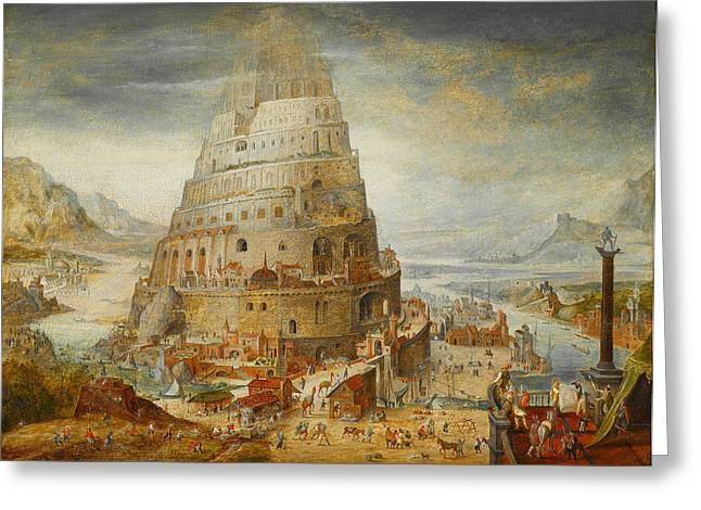 Construction Of The Tower Of Babel Greeting Card by Abel Grimmer