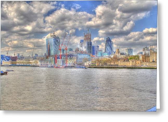Construction Sites In The City Of London Greeting Card by Ash Sharesomephotos