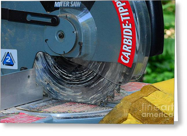 Construction The Chop Saw Greeting Card