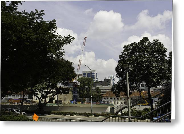 Construction Work Ongoing In Singapore Greeting Card by Ashish Agarwal