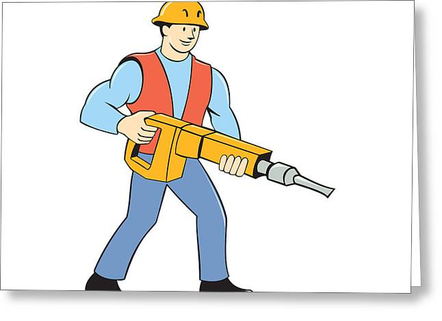 Construction Worker Holding Jackhammer Cartoon Greeting Card