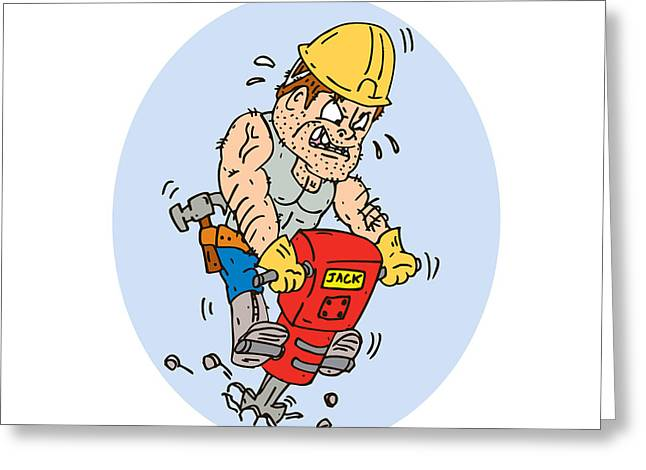 Construction Worker Jackhammer Drilling Cartoon Greeting Card